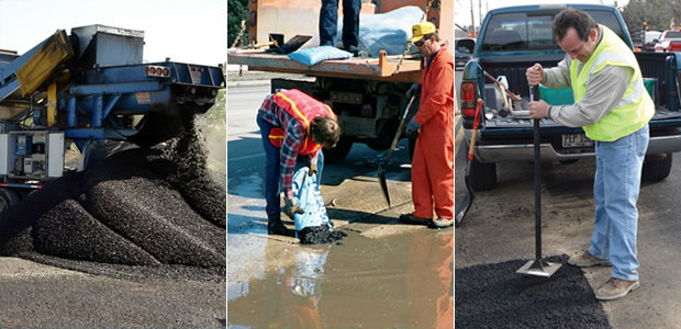 Road crews repair asphalt with UPM pavement patch solution