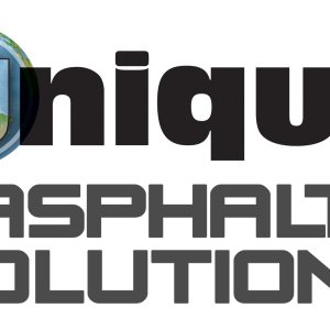 """UNIQUE Paving Materials' logo and the words """"asphalt solutions"""""""