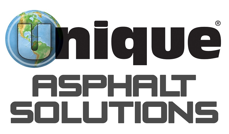 "UNIQUE Paving Materials' logo and the words ""asphalt solutions"""