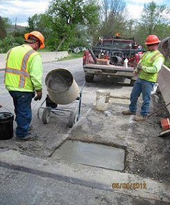 CPM-concrete installed into repair demonstration 2 (full depth concrete).