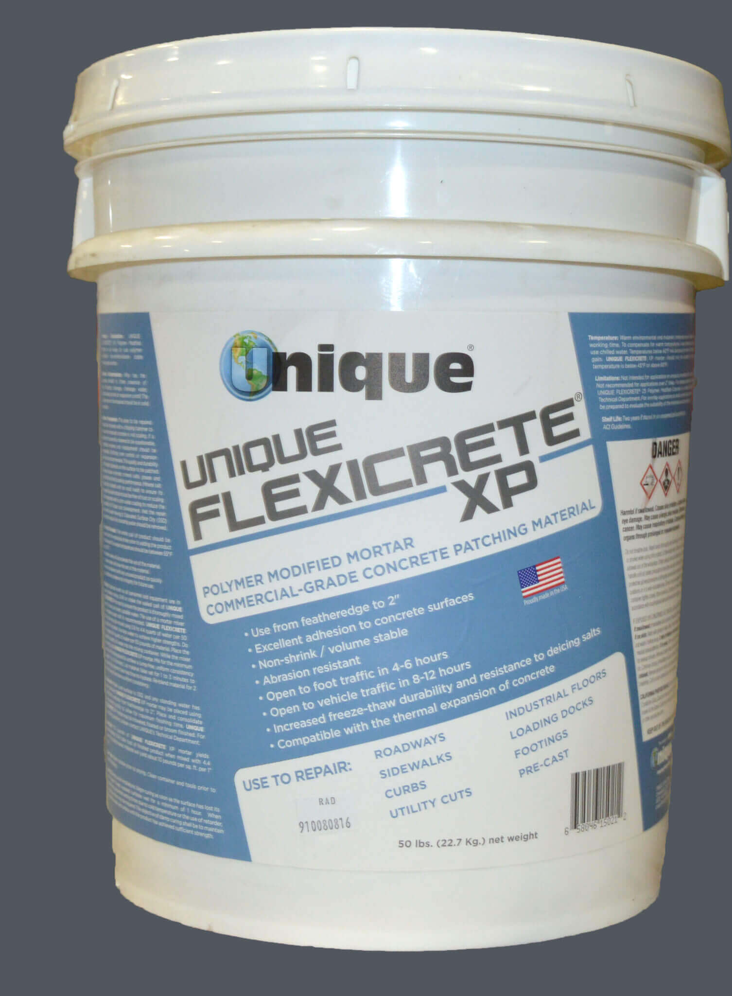 UNIQUE FLEXICRETE XP Polymer Modified Mortar 50lb Pail