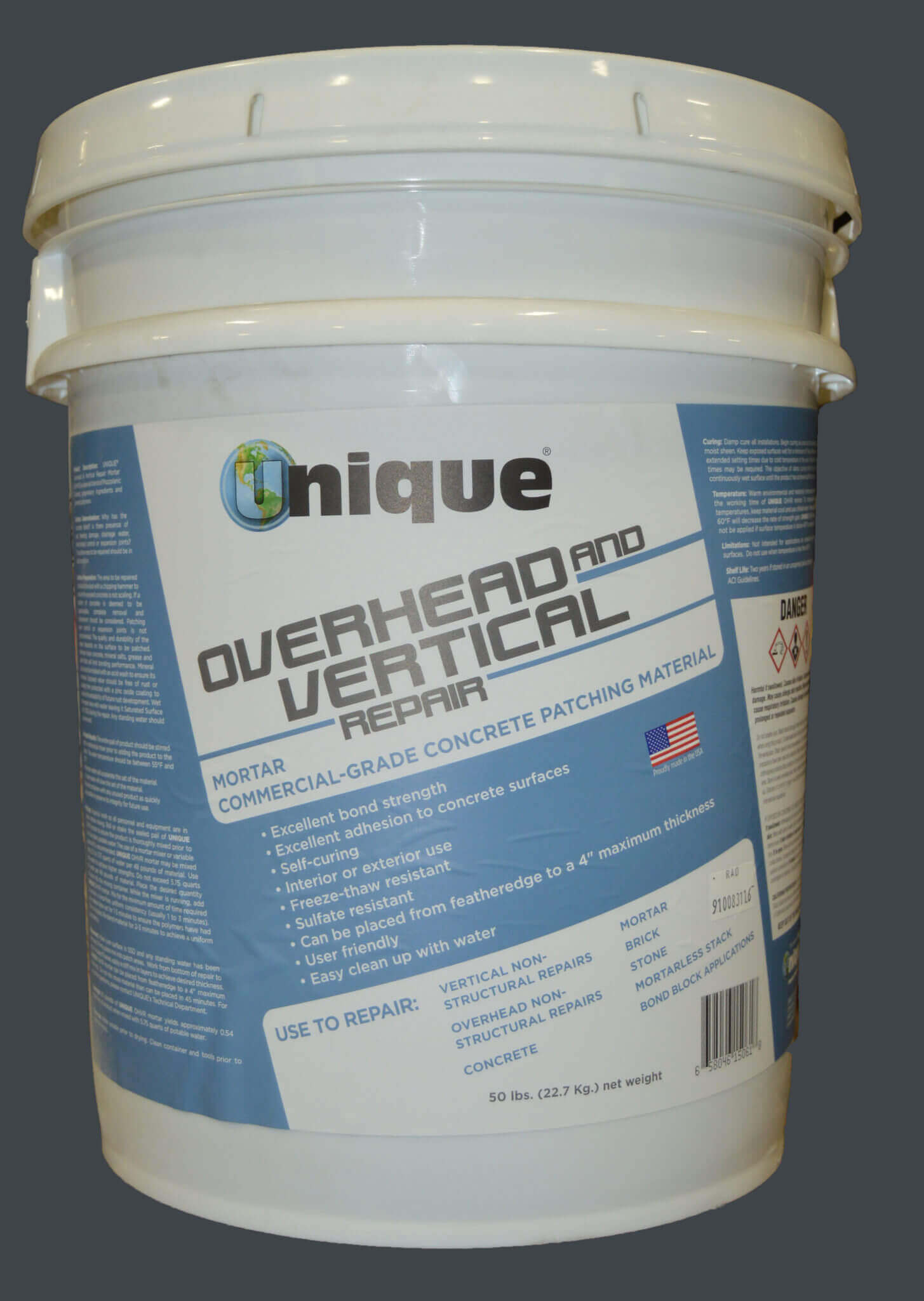A 50-lb. pail of UNIQUE overhead concrete mix and overhead repair mortar