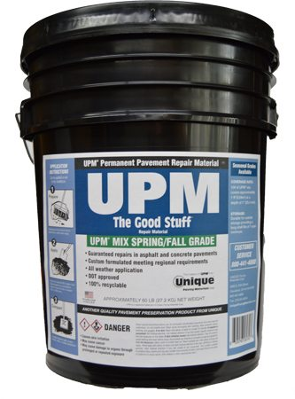 A pail of UPM® cold asphalt patch for asphalt road patching projects and pothole repairs